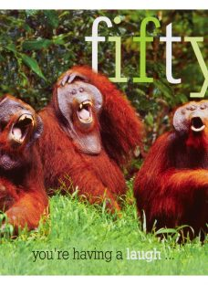 Woodmansterne Three Orangutans 50th Birthday Card