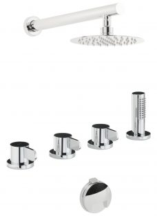 Abode Bliss Thermostatic Deck Mounted 4 Hole Bath Overflow Filler Kit with Wall Mounted Shower