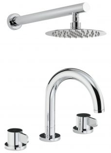 Abode Bliss Thermostatic Deck Mounted 3 Hole Bathroom Mixer Tap with Wall Mounted Shower