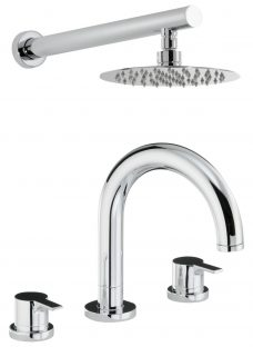 Abode Desire Thermostatic Deck Mounted 3 Hole Bath Mixer Tap with Wall Mounted Shower