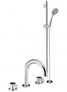 Abode Bliss Thermostatic Deck Mounted 3 Hole Bath/Shower Mixer Bathroom Tap and Sliding Rail Kit