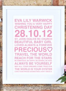 Megan Claire Personalised Christening Framed Print