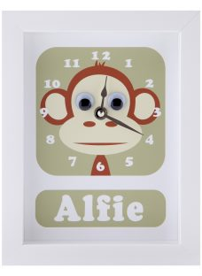 Stripey Cats Personalised Marley Monkey Framed Clock