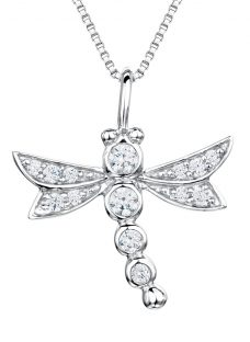 Jools by Jenny Brown Sterling Silver Pave Dragonfly Pendant