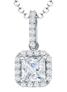 Jools by Jenny Brown Sterling Silver Cubic Zirconia Square Surround Pendant