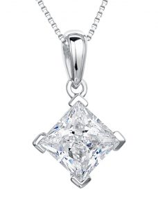 Jools by Jenny Brown Rhodium Plated Silver Cubic Zirconia Drop Square Pendant