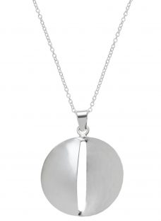Andea Sterling Silver Smooth And Textured Pendant Necklace