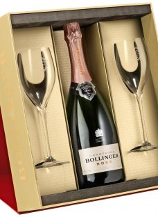 Bollinger Rosé Champagne and 2 Flutes Set