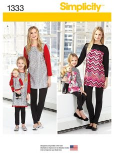 Simplicity Adult and Children's Tunic and Leggings Sewing Pattern