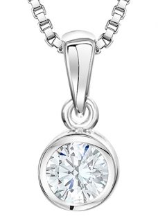 Jools by Jenny Brown Sterling Silver Cubic Zirconia Circular Drop Pendant