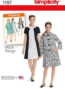 Simplicity 1960s Vintage Women's Dress and Coat Sewing Pattern