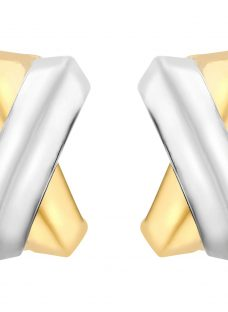 IBB 9ct Gold Two Colour Crossover Kiss Stud Earrings