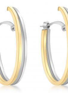 IBB 9ct Gold Two Tone Double Oval Huggy Earrings