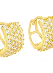 IBB 9ct Yellow Gold 5 Row Cubic Zirconia Huggy Earrings