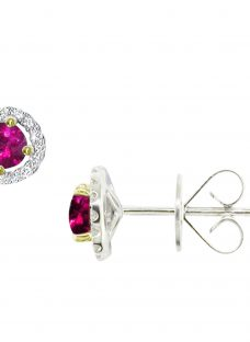 EWA 18ct White Gold Diamond Ruby Claw Set Cluster Stud Earrings