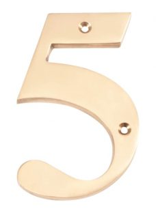 The House Nameplate Company Brass Numeral 5