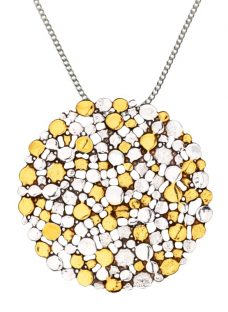Nina B Large Silver Gold Plated Pendant Necklace