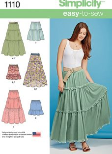 Simplicity Women's Bohemian Tiered Skirts Sewing Pattern
