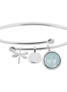 Joma Sterling Silver Plated Crystal Story Serenity Bangle