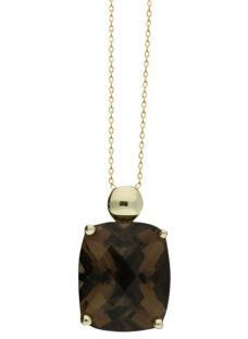 London Road 9ct Gold Smoky Quartz Pendant Necklace