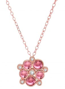 London Road 9ct Rose Gold Diamond Tourmaline Pimlico Bubble Pendant