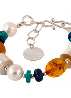Be-Jewelled Sterling Silver Amber Pearl Turquoise and Lapis Bracelet
