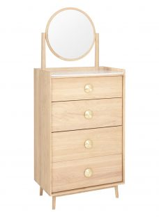 Bethan Gray for John Lewis Genevieve 4 Drawer Tall Boy Chest with Mirror
