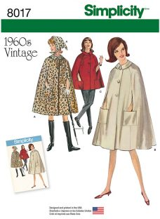 Simplicity Misses' Women's Vintage 1960s Capes Sewing Pattern