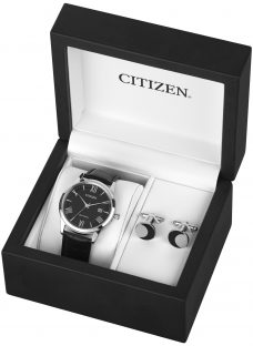 Citizen AW1231-07E SET Men's Date Leather Strap Watch and Cufflinks Gift Set