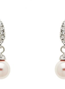 Finesse Swarovski Crystal and Pearl Wire Drop Earrings