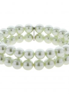 Finesse Double Strand Glass Faux Pearl Stretch Bracelet