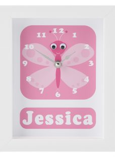 Stripey Cats Personalised Betty Butterfly Framed Clock
