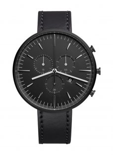 Uniform Wares M42SKK01CORBLK1818R01 Men's M42 Chronograph Date Leather Strap Watch