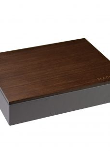 Stackers Charcoal Valet Tray With Wooden Lid