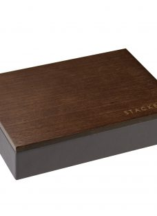 Stackers Mini Charcoal Cufflink Box With Wooden Lid