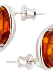 Be-Jewelled Sterling Silver Amber Oval Stud Earrings
