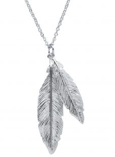Nina B Sterling Silver Double Feather Pendant Necklace