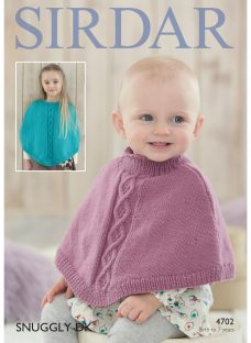 Sirdar Snuggly DK Children's Poncho Knitting Paper Pattern