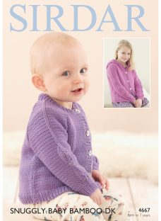 Sirdar Snuggly Baby Bamboo DK Cardigan Knitting Paper Pattern
