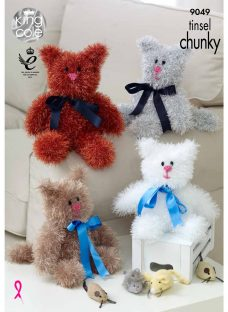 King Cole Tinsel Chunky Cat Plush Knitting Pattern