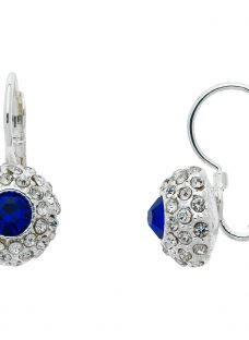 Monet Pave Glass Crystal Leverback Drop Earrings
