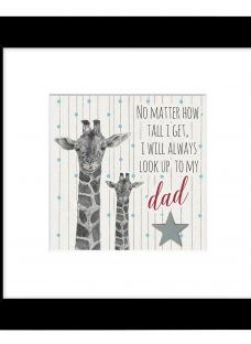 East Of India - Giraffe Look Up To Dad Framed Print