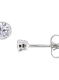 EWA 18ct White Gold Diamond Rub Over Stud Earrings