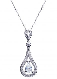 Ivory & Co. Timeless Cubic Zirconia Pave Teardrop Pendant Necklace