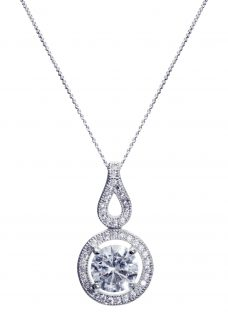Ivory & Co. Heritage Round Cubic Zirconia Pave Drop Pendant Necklace