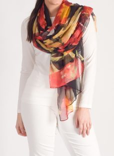 Chesca Abstract Floral Printed Crinkle Chiffon Scarf