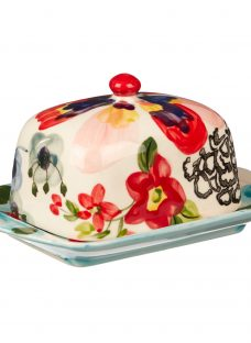 Anthropologie Painted Amaryllis Butter Dish