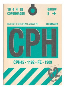 Nick Cranston - Luggage Labels: Copenhagen Unframed Print with Mount
