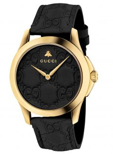 Gucci YA1264034 Unisex G-Timeless Signature Leather Strap Watch
