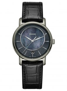 Rado R14064915 Women's Diamaster Mother of Pearl Date Leather Strap Watch